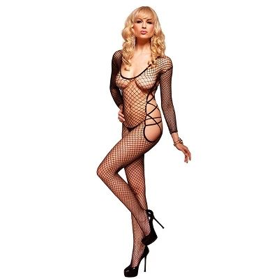 Crni mrežasti bodystocking